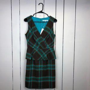 NWT Trina Turk Plaid Check Peplum Dress Sz 6